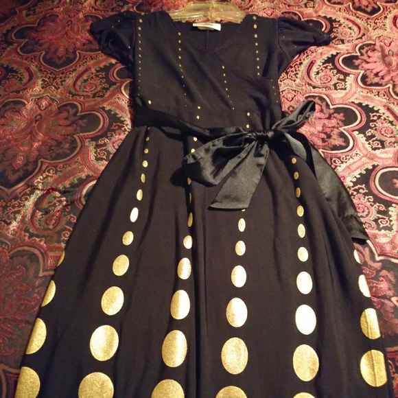 Rare Editions Other - Black and Gold polka dot childs dress